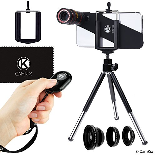 CamKix Lens & Shutter Remote Kit Compatible with Apple iPhone X/Xs - Incl. Bluetooth Camera Remote, 8X Telephoto, Fisheye, Macro, Wide Angle Lens, Tripod, Holder, Lens Ring, Case, Bag and Cloth from CamKix