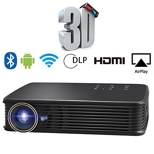 SeeYing I8 3500 Lumen Video Projector HD 3D Home Theater Portable Projector 1280x800 LED DLP Max 300'' Pico Mini Projector Android System Support 1080p WiFi Bluetooth Touch/Remote Control by SeeYing