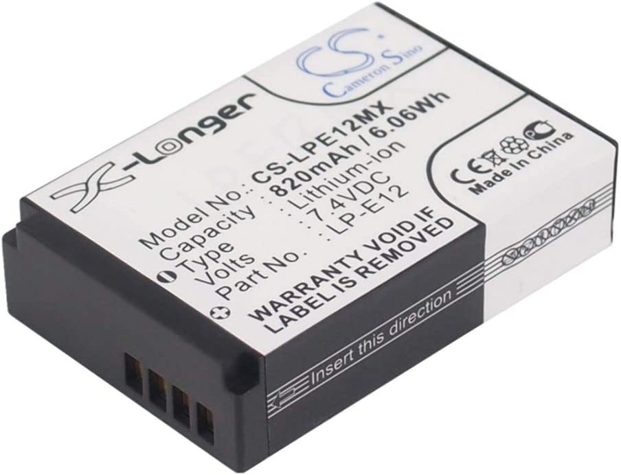 Battery Camera 820mAh//6.07Wh 7.4V Camera Battery for Canon LP-E12//EOS 100D EOS M EOS M2 Photo Battery Color : Black, Size : 11.70 x 8.40 x 6.90mm