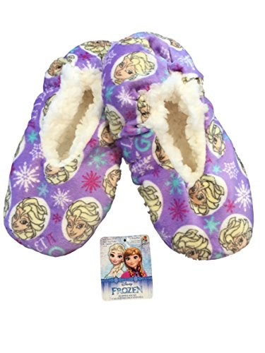 Disney Pixar Fuzzy Babba Slippers (M/L Shoe Size 13-4, Frozen Elsa Purple)