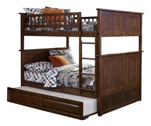 Nantucket Bunk Bed with Raised Panel Trundle Bed, Full Over Full, Antique Walnut (Trundle Bed Antique Walnut)