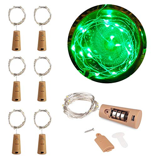 MOMO Set of 6 Green Wine Bottle Cork Lights - 2m 20 LED Copper Wire Lights String Starry Battery Powered Fairy Lights for DIY, Party, Decor, Christmas, Halloween, Wedding or Mood Lights