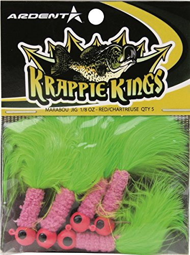 Krappie Kings Crappie/Panfish Marabou Jig Head, Red/Chartreuse, 1/8 oz