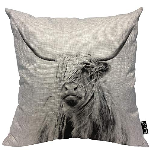 Mugod Cow Decorative Throw Pillow Cover Case Portrait of a Highland Cow Cattle Ox Horn Hairy Grey White Cotton Linen Pillow Cases Square Standard Cushion Covers for Couch Sofa Bed 18x18 Inch