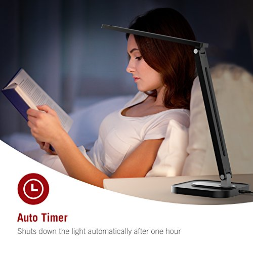 TaoTronics TT-DL029 LED Desk Lamp with USB Charging Port, 5 Color Temperatures and 5 Brightness Levels, Night Light Mode, 1H Timer, 12W, Black, Official Member of Philips Enabled Licensing Program by TaoTronics (Image #7)