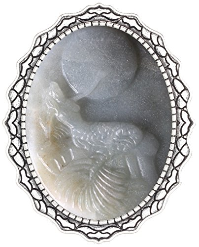 Stone Cameo Brooch - Yspace Cameo Shield Brooch Pin Seabird Decor Antique Lace Fashion Jewelry for Gift (Moon Mermaid Gemstone)