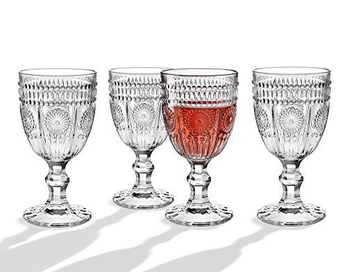 Wine Glasses Goblets, Beverage Water Juice Cups - 12oz, Set of 4