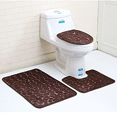 Bath Mat Pedestal Rug Non Slip Memory Foam Bathroom Toilet Lid Cover 3pcs Set UK