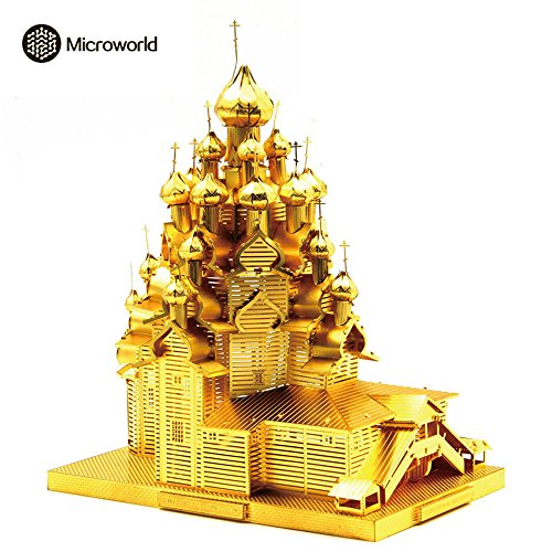 Price comparison product image 2016 Microworld 3D Metal Puzzle Russia The Church of the Transfiguration Building Model J028-G DIY 3D Laser Cut Assemble Jigsaw Toys - Gold