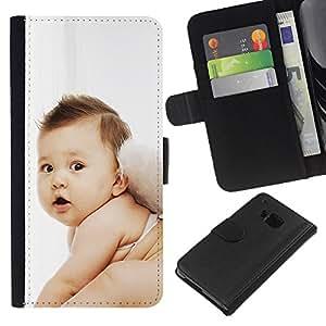 KingStore / Leather Etui en cuir / HTC One M9 / Hada linda del bebé