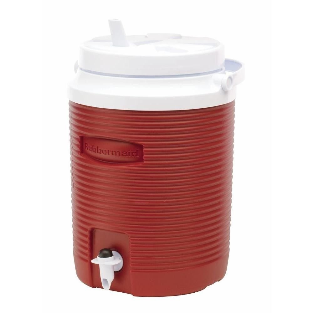 ICE WATER COOLER JUG 2 Gallon Large Red Thermos Insulated Camping Outdoor Sport