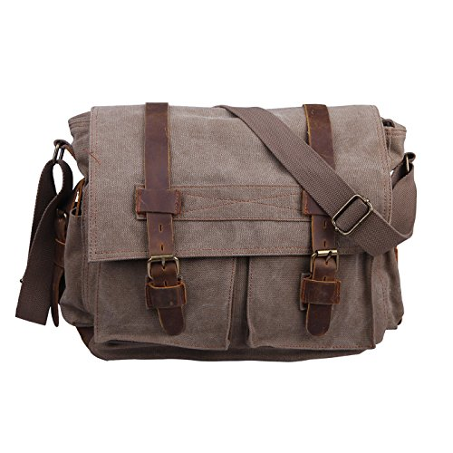 Field Womens Bag (HDE Vintage Canvas Messenger Bag Leather Military Tactical Style Travel Shoulder Field Bag fits 13 Inch Laptop)