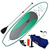 SereneLife Inflatable Stand Up Paddle Board (6 Inches Thick) Universal SUP Wide Stance w/Bottom Fin for Paddling and Surf Control | Non-Slip Deck | Youth and Adult ((Olive Green)