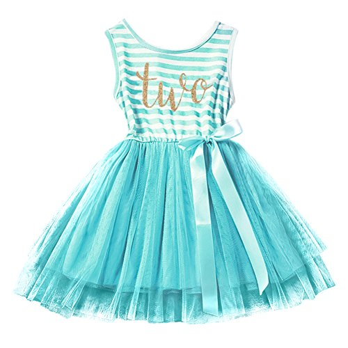 IBTOM CASTLE Baby Girls Crown Princess Striped 1st/2nd Birthday Cake Smash Shiny Printed Party Tulle Tutu Dress Toddler Kids Outfit Turquoise (Two Year) One Size ()