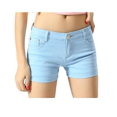 Abetteric Women Short Summer Shorts Skinny Summer Leisure Mulit Color Shorts Jeans Dark Blue2 XS