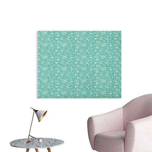 (Anzhutwelve Turquoise Photo Wall Paper Nature Illustration with Abstract Stripes Curlicues Geometric Floral Design Poster Paper Seafoam White W36 xL24)