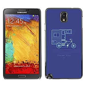 LASTONE PHONE CASE / Slim Protector Hard Shell Cover Case for Samsung Note 3 N9000 N9002 N9005 / Cool Double Decker Bicycle Purple