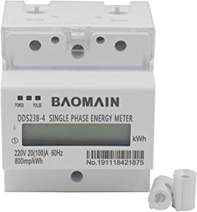Baomain Single Phase DIN-rail Type Kilowatt Hour kwh Meter 220V 60Hz 20 (100) A