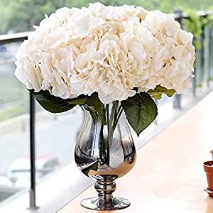 Jasion Artificial Flowers Hydrangeas Flowers 5 Big Heads Silk Bouquet for Office Home Party Decoration (Champagne) 73