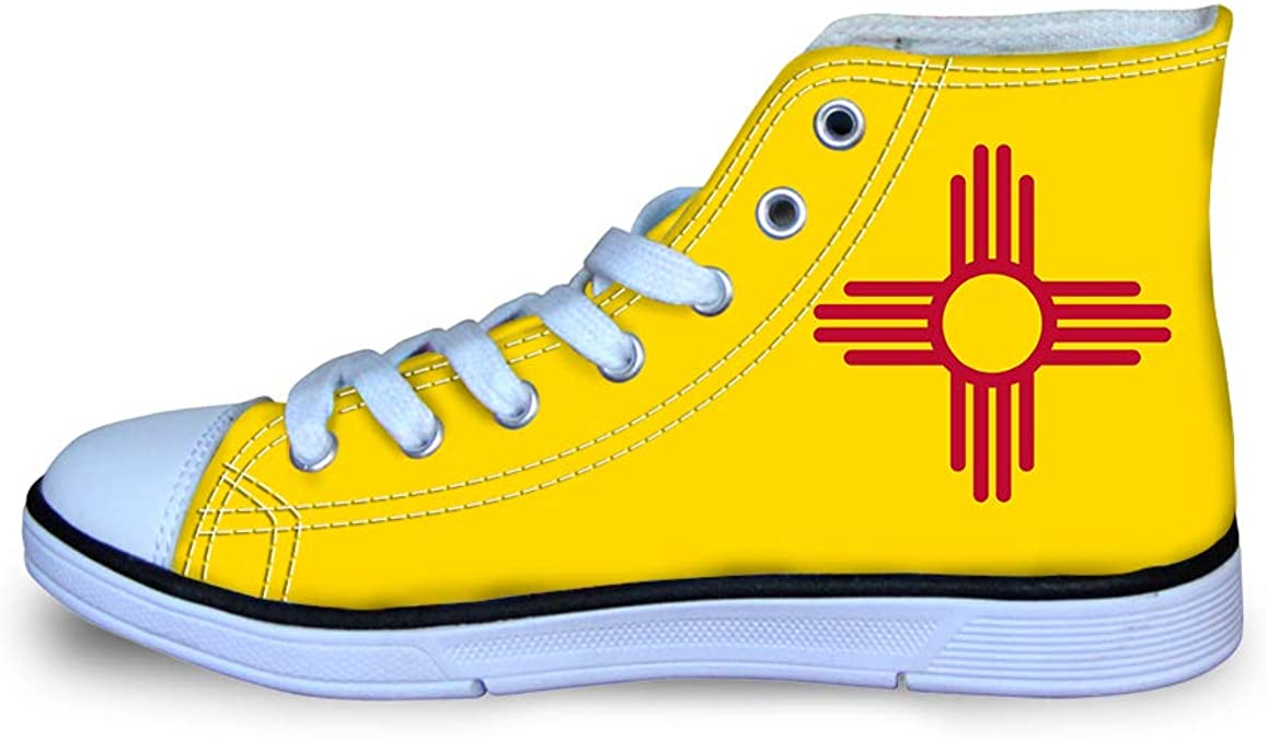 Owaheson Boys Girls Casual Lace-up Sneakers Running Shoes New Mexico Flag