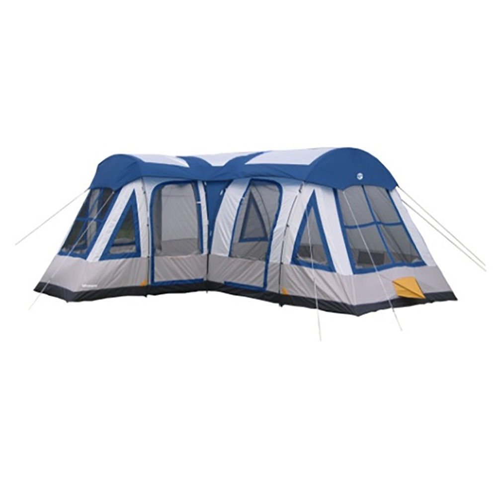 Gateway 12-Person Deluxe Cabin Family Camping Tent, Navy Blue With Ebook