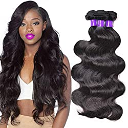 Kbeth 9A Remy Brazilian Virgin Body Wave Human Hair Bundles 300g Cuticle Aligned Hair 14'' 16'' 18'' 3 Bundles 100% Unprocessed Virgin Body Wave Hair Extension 1B Natural Color (14 16 18 inch)
