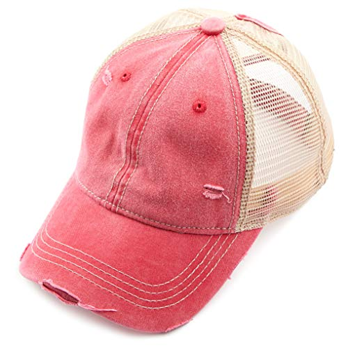 C.C Hatsandscarf Exclusives Washed Distressed Cotton Denim Ponytail Hat Adjustable Baseball Cap (BT-12) (RED)