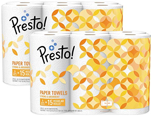 Amazon Brand - Presto! Full-Sheet Paper Towels, Huge Roll, 12 Count