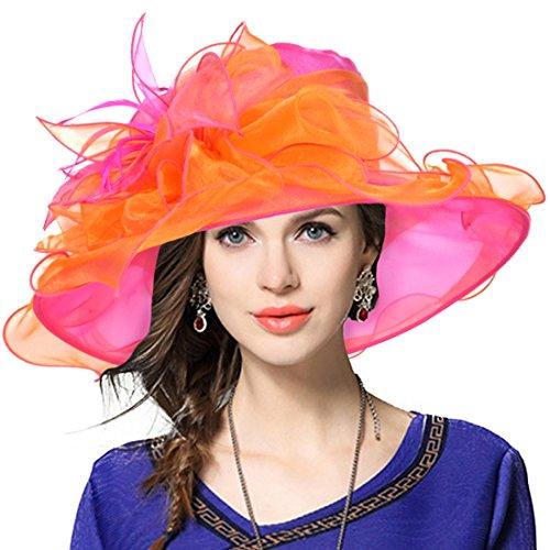 Kentucky Derby Hat Wide Brim Flounce Cocktail Tea Party Bridal Dress Church Hat (Rose, Medium)