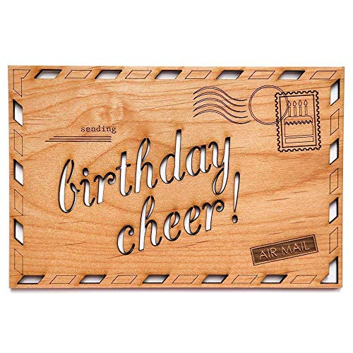 (Birthday Cheer Laser Cut Wood Birthday Card (Greeting Card/Birthday Gift) )