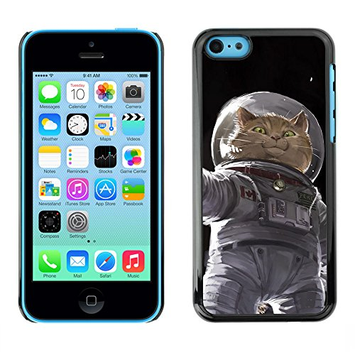 Cosmonaut Astronaut Kitten Cat Space - Aluminum Metal&Hard Plastic Back Case Cover - Black - Apple iPhone 5C (Speck Iphone 5c Case Space compare prices)
