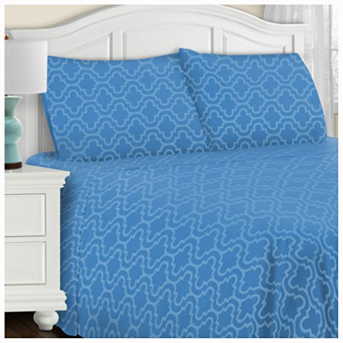Superior Extra Soft Printed Highest Quality All Season 100% Brushed Cotton Flannel Trellis Bedding Sheet Set with Deep Pockets Fitted Sheet - Light Blue Trellis, Twin Size (Printed Flannel)