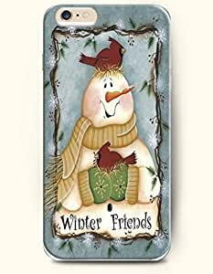 OOFIT Apple iPhone 6 case 4.7 inches - Winter Friends A Happy Snowman