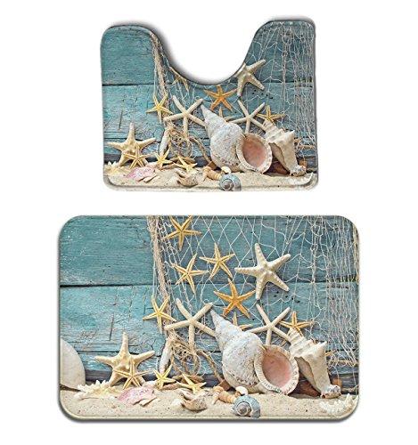 JACINTAN Seashells Starfish 2-Piece Soft Bath Rug Set Includes Bathroom Mat Contour Rug Home Decorative Doormat