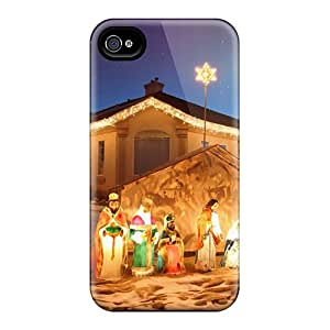 Bumper Cell-phone Hard Cover For Iphone 4/4s With Unique Design Vivid Outdoor Christmas Nativity Scene Skin PamelaSmith