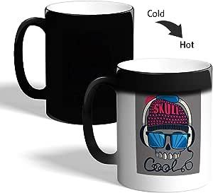 كوب القهوة السحري، اسود، بتصميم موسيقي - جمجمة