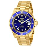 invicta gold watch blue dial - Invicta Men's 8930OB Pro Diver Automatic Gold-Tone Bracelet Watch