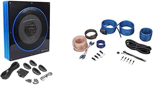 "Rockville RW10CA 10"" 800 Watt Slim Low Profile Active Powered Car Subwoofer Sub Bundle with Rockville RWK10 10 Gauge Amp Installation Kit ANL Fuse Holder 100% Copper RCA"
