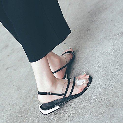Transparentes Plates Plates Bouton DIDIDD Mot Chaussures 35 Fées PVC Romaine Fashion Noir Sandales AE66qF