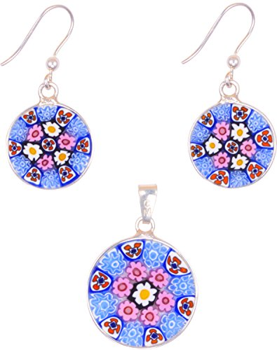 - Millefiori Earring/Pendant Set, Handmade in Murano, Sterling Silver 925 imported from Italy
