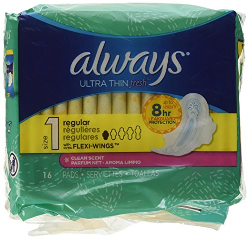 - Always Ultra Thin, Size 1, Regular Pads With Wings, Scented, 16 Count, Packaging May Vary