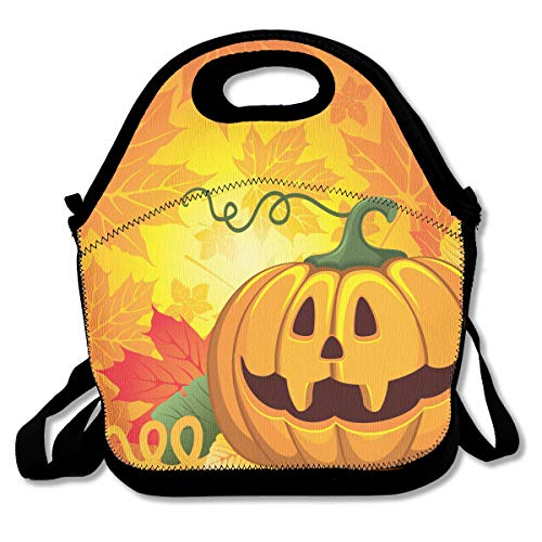 Halloween Pumpkin Portable Lunch Box Bag Insulated Waterproof Fashionable Storage Handbag for Women Adults Kids]()