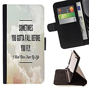 - Sometime you gotta fall before you fly - - Wallet Pu Leather Credit Card Holder Pouch Case Cover FOR Samsung Galaxy S3 MINI 8190 Retro Candy