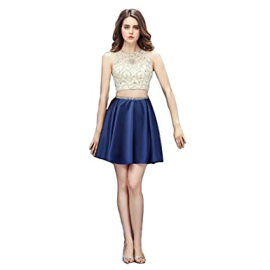 Wishopping Womens Short 2 Piece Prom Gown Homecoming Dress Navy