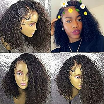 Ten Chopstics Wigs Full Short Curly 360 Lace Frontal Wigs 180 Density 360 Human Hair Wigs For Black Women Glueless Bob Brazilian Hair Wigs With Baby