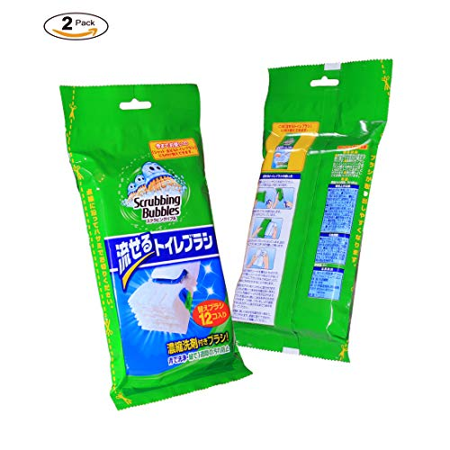 12 Counts Flushable Toilet Brush Refills Disposable Toilet wand Heads - Scrubbing Towel Cleaner Bubbles Replacement Pads (2 ()