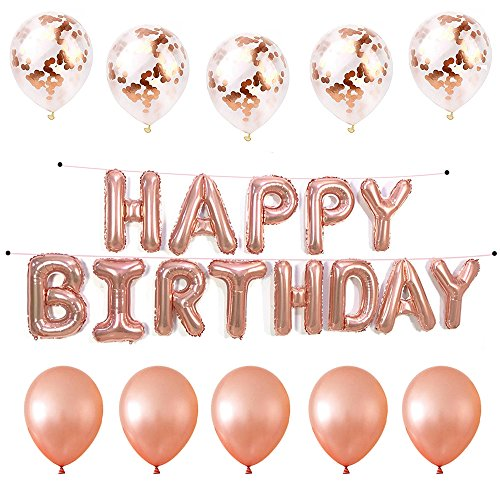 16 Inch Rose Gold Happy Birthday Letter Mylar Banners,5 Pcs Confetti Balloons,5 Pcs Rose Gold Latex Balloons