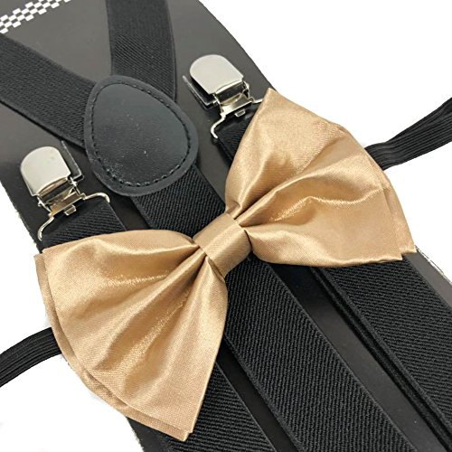 Four-seasonstore Black Suspender Color Bow Tie Style Mens &Women Combo Suspender Wedding Dress (Champagne Gold) (Man Suspenders Costume Old)