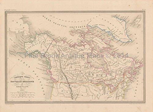 Canada Alaska Antique Map Malte Brun 1850 Original