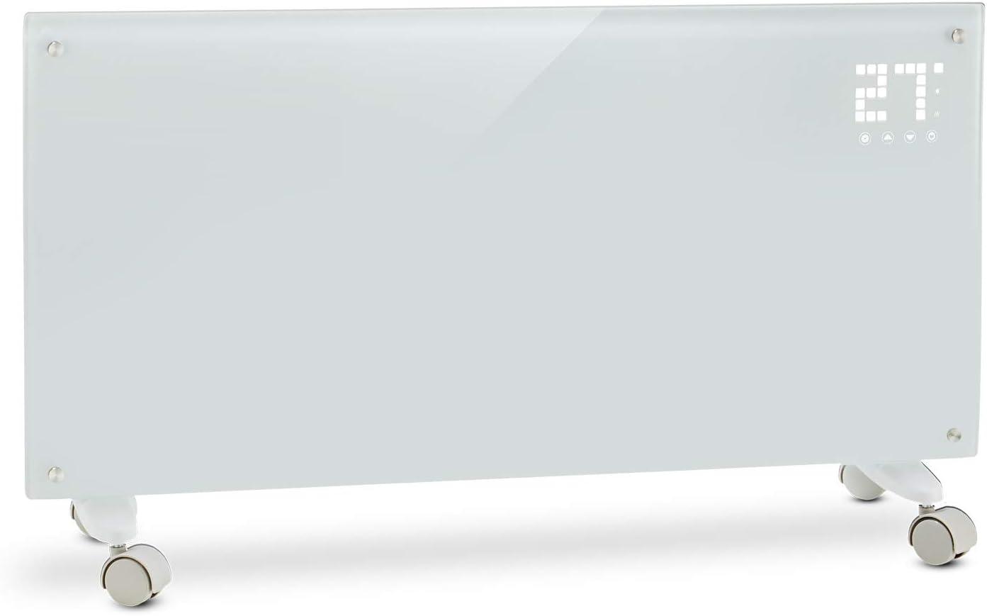 Klarstein Bornholm White Edition - Calefactor convector eléctrico, Radiador de 1000/ 2000W, Monitor LED camuflado, Control remoto, Modo Eco, Programable por horas hasta 24, Panel de cristal, Blanco